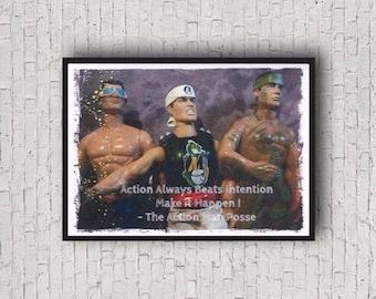 Action Always Beats Intention Make it Happen! Action Man Colour Photographic Motivational A4 Art Print