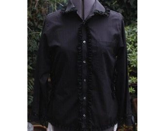 SALE victorian corset blouse. corseted sides.  steampunk. gothic lolita  Revamped Upcycled