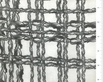 White/Black Plaid Print Silk Voile, Fabric By The Yard
