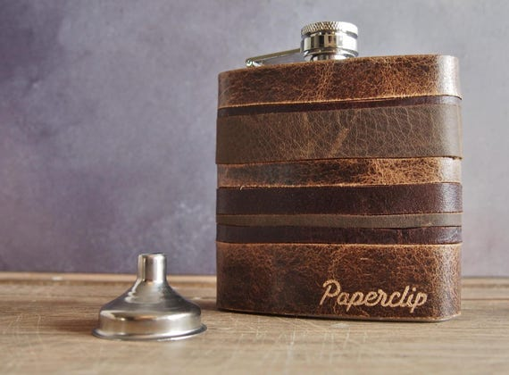 Custom Leather Flask, Personalized hip flask for men, rustic leather flask, engraved leather hip flask, boyfriend hip flask, vintage style
