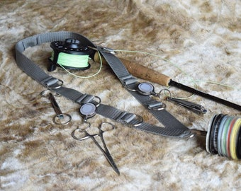 "Fly Fishing Lanyard , 1"" Polyester Webbing Strap, Grey ,with 8 Split Rings for accesories, and 1 Tippet Spool Holder."