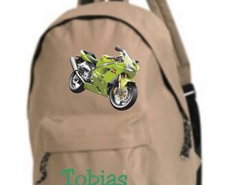 beige backpack bike personalized with name