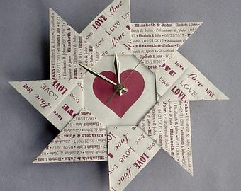 First Anniversary Gift For Wife - Love- Spiral Origami Clock - Maroon