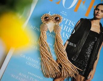 Gold tassel earrings Long beaded tassel earrings Beaded fringe earrings Gold statement earrings Wedding earrings Bridesmaid tassel earrings