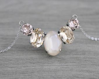 Crystal Bridal necklace, Swarovski necklace, Bridal jewelry, Antique silver necklace, Wedding necklace, Champagne crystal necklace, Oval