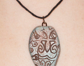 Tribal Polymer clay necklace in pale browns and pale aqua