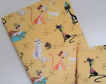 Atomic Cats Notebook Covers made from Vintage Pillowcase, Set of 2