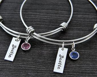Wire Bangle Bracelet / Best Friends Bracelet / Charm Bracelet / Besties / BFF / Personalized Bangle / Best Friends Jewelry