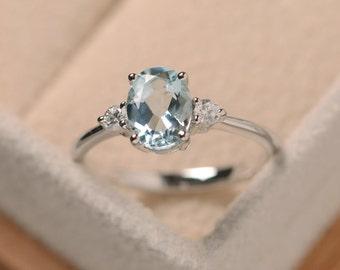 Aquamarine ring silver, oval cut aquamarine, March birthstone gemstone ring