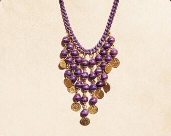 Purple Patina Bib Necklace