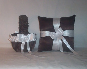 Chocolate Brown Satin With White Ribbon Trim Flower Girl Basket And Ring Bearer Pillow Set 1