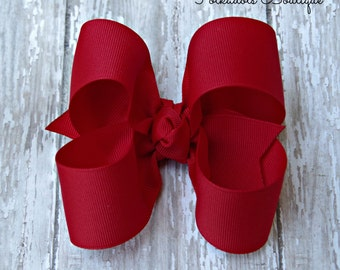 "Red Hairbow Red Large Hair Bow 4"" Alligator Clip Girls Hairbow Red Hair Bow Red Large Bow 4 Inch Red Hair Bow"