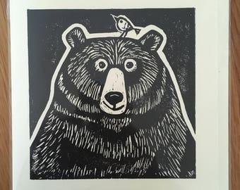 Handmade Linocut Printed Black Bear and Bird Card