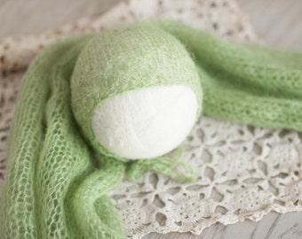 Green Newborn Hat and Wrap, Sage Green Mohair Hat, Light Green Mohair Wrap, Lacy Mohair Baby Hat, Great Newborn Photography Prop