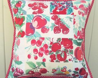 vintage fruit patchwork pillow cover 16x16