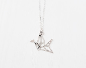 Silver Origami Crane Necklace   Paper Cut-out Crane   Antique Silver   Gift   Boho Jewelry   SALE