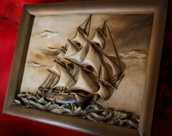 Full Sail Yacht - Sailing boat - 80cm x 60cm - Handcarved wall sculpture