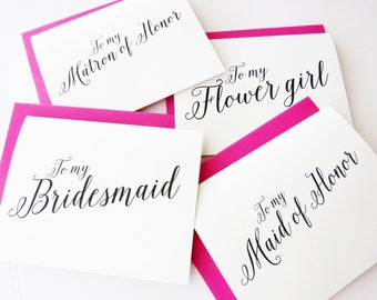 To My Bridesmaid Card, To my Maid of Honor, Wedding Party Thank You Cards, Thank you for Being My Bridesmaid card, (Set of 6) WIS02