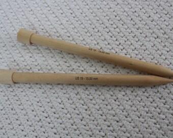2 knitting needles (US 19) 15 mm birch, set of two knitting needles, 25 cm