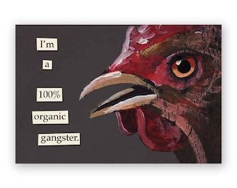 100% Organic Gangster Magnet - Bird - Humor - Gift - Stocking Stuffer - Mincing Mockingbird