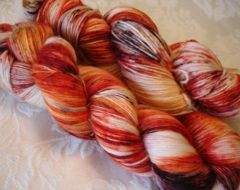 READY TO SHIP, Variegated,  Sprinkled, Hand Dyed, Color -  Fireball Sprinkle