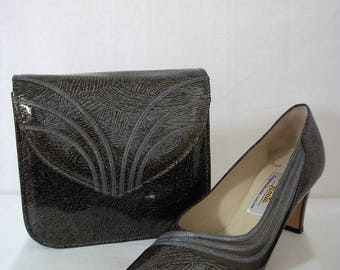 Vintage 1980's - Italian 'Renata' Bronze/Black/Silver High-Heeled Leather Shoes with Matching Clutch/Handbag - UK Size 4.5