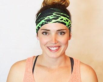 Green Lighting, Yoga Headband, Fitness Headband, Workout Headband, No slip Headband, Running Headband, Wide Headband, Crossfit
