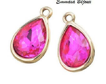 2 pendants Crystal fuchsia 20 x 12 mm