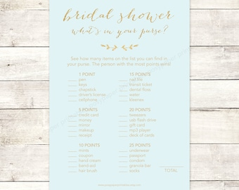 bridal shower game what's in your purse printable blue gold glitter wedding shower digital games - INSTANT DOWNLOAD