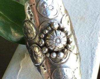 Bohemian Saddle Ring, Floral Ring (Ring size 7.5)
