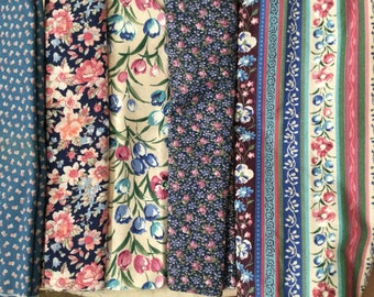 5 Cotton Quilt Fabric Fat Quarters in Prints with Shades of Blues and Pinks