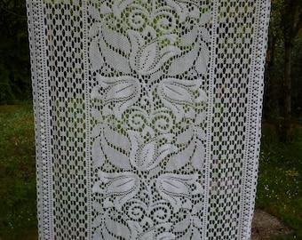 """Art Nouveau. Très joli Long unique Français Vintage Ivoire Floral Rideau 23 l x 70"""" 59 x 178 cm"""