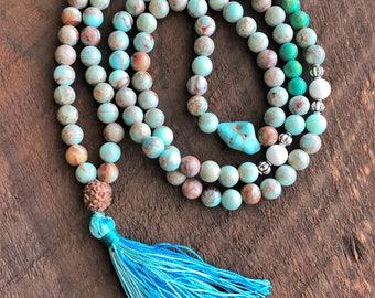 Snakeskin Jasper Mala, Rudraksha 108 Prayer Beads, Healing Meditation Necklace, Yoga Bracelet, Chakra Necklace, Buddhist Bracelet