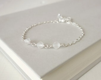 Minimalist chain bracelet frosted glass beads white bead bracelet dainty bracelet for women