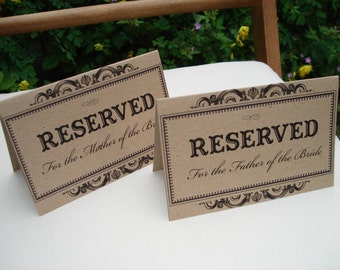 Rustic/Vintage Shabby chic Personalised Wedding Reserved Sign- ivory or kraft brown-perfect for saving seats for the wedding party