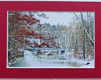 Set of 2 Matted 4x6 Winter Bridge Collection, Signed by the Artist