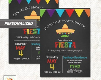 Cinco de Mayo Fiesta Party Chalkboard Theme Invitation, Printed or Printable File