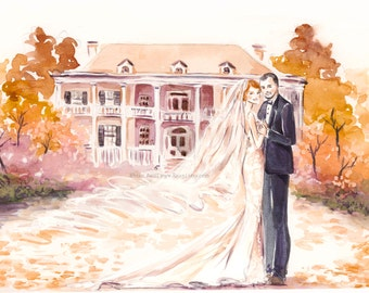 Custom Wedding Portrait - Save the Date Illustration Bride Groom Engagement Couple Portrait Family Sketch Watercolor Painting Drawing