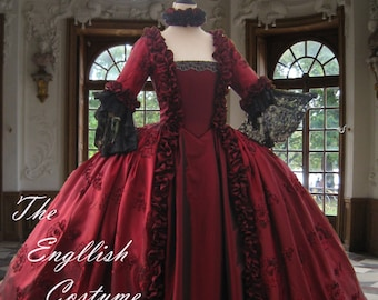 B/ Marie Antoinette dress. Georgian taffeta evening gown.Fully boned for authentic bust lift;no corset required