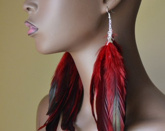 Iridescent Red Feather Earrings