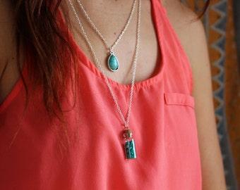 Bottled Turquoise Shards with Layered Turquoise Charm