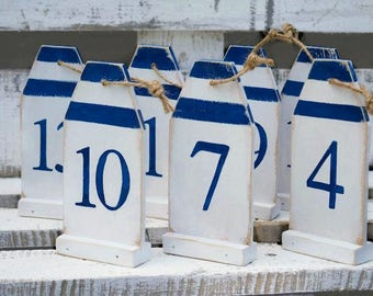 Wood buoy table numbers Nautical table decor Numbers for wedding Standing numbers Navy wedding decor Event table numbers Coastal wedding