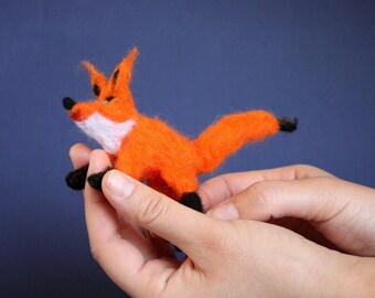 Waldorf Needle Felted Fox, Woodland soft sculpture, posable toy, Steiner toy, orange and black, forest, fox figurine, fox totem, baby shower