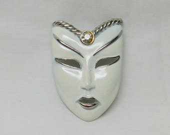 Vintage White Mask Brooch Pin Jewelry Woman Masked Face Silver Rhinestone Accent Metal Enamel Mardi Gras Theater Play Actor Stage Gift