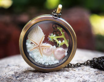 Glow In The Dark Necklace, Beach Locket, Real Starfish Necklace, Glass Locket Necklace, Sea Terrarium Necklace Mermaid Necklace Gift for her