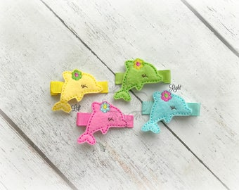 Dolphin Hair clip Cute Sea Creature Embroidered Felt Hair Clips Pick one or two. Pick Left side or Right.