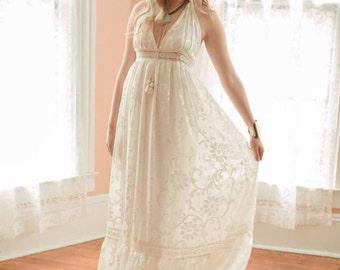 Boho Wedding Dress, Velvet Burnout Dress, Halter Wedding Dress, Beach Wedding Dress, Hippie Wedding Dress, Bohemian Wedding Dress, Lace