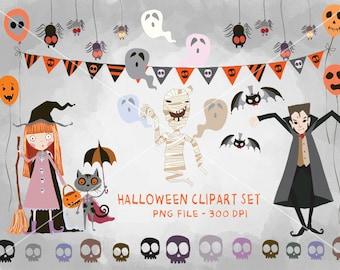 HALLOWEEN Digital Clipart, Halloween Clipart, Instant Download PNG file - 300 dpi