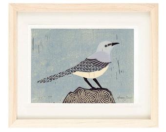 MOCKINGBIRD Linocut Reproduction Art Print: 4 x 6, 5 x 7