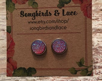 Hot pink flat druzy on stainless steel stud - 10mm